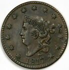 1817 LARGE CENT ~ RARE N-4 DIE CRACK AT DATE ~ BOLD XF/AU ~ PRICED RIGHT!