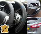 For Nissan Qashqai XTrail 100% Black Leather & Leather Look Steering Wheel Cover