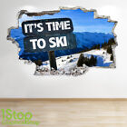 SKIING WALL STICKER 3D LOOK - BOYS KIDS BEDROOM EXTREME SPORT WALL DECAL Z685