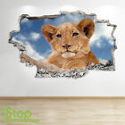 LION WALL STICKER 3D LOOK - BEDROOM LOUNGE NATURE ANIMAL WALL DECAL Z696