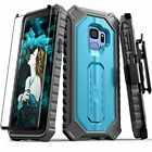 Galaxy S9 Case Shockproof Rugged Armor Holster Belt Clip Tempered Glass Azure