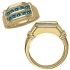 1 Carat Blue Diamond Channel Design Mens Anniversary Band Ring 14K Yellow Gold