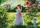 VINTAGE CUTE PRINCESS GIRL GARDEN FAIRY FROG CASTLE   POSTER