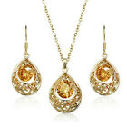 Gold Plated Bridal Prom Party Jewellery Necklace Set Hollow Zircon Pear Earrings