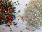 100gms Glass seed beads 2mm Clear/ Vibrant Mix Silver Lined OR Opaque 11/0 4 Col