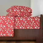 Betty Boop Red White Polka Dot Spots Dots Organic Sateen Sheet Set by Roostery $189.0 USD