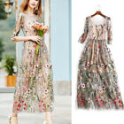 Women's Lace Flower Embroidery Dress Long Sleeve Evening Party Cocktail Dresses
