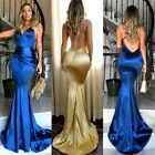 Uk Satin Mermaid Formal Wedding Dress Backless Long Evening Party Prom Gown