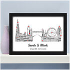 Personalised Word Art Engagement LONDON Skyline Picture Print Gifts Present