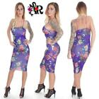 PURPLE BODYCON WIGGLE PENCIL FLORAL MIDI DRESS 8 to 14