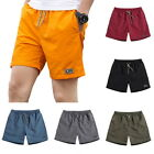 Summer Casual Shorts Men Breathable Shorts Elastic Waist Beach Knee Length Pants
