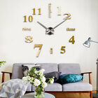Modern Small/ Large Number Wall Clock 3D Mirror Surface Stickers Home Art Decor