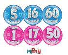 Big Badge Birthday Party All Milestone Ages Male Female Boy Girl Pink Blue 6""