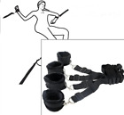 Under Bed Restraint System Cuffs Strap Set Black Nylon Soft Bed Restraint NEW