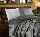 Chezmoi Collection 4-Piece Solid Gray Bridal Satin Sheet Set image
