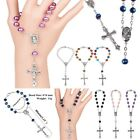 Catholic Rosary 8mm Prayer Beads Jesus Cross Crucifix Pendant Bracelets Chain