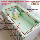 7Pcs Baby Bedding Set 100% Cotton Crib Cot Protector Safe Bumpers Bed Sheet Quil