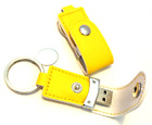 Personalised engraved yellow 8gb USB memory stick flash drive in pouch - M20
