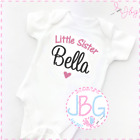 Personalised Baby Vest, Little Sister Embroidered Design, Bodysuit/Onsie Gift