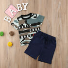 US Toddler Kid Baby Boy Letter T Shirt Top+Camouflage Shorts Outfits Clothes Set