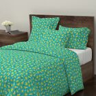 Banana Arrow Retro Geometric Kids Colorful Sateen Duvet Cover by Roostery