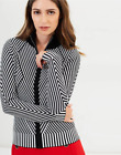 Karen Millen KB138 Striped Knitted Dress Work Jacket Cardigan Knit 8 - 14 New