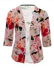 Ladies 16 - 26 New Light Blazer Open Jacket Top Pink Floral Bnwt Womens *LICK*