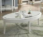 Sliver Mist White Glass Top Oval Coffee Table End Sofa Table Contemporary Style