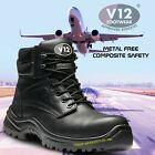 V12 OTTER COMPOSITE LEATHER WORK SAFETY TOE CAP & MIDSOLE BOOTS METAL FREE 4-13