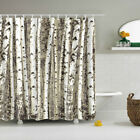 Trees Wood Polyester Waterproof Bathroom Fabric Shower Curtain With 12 Hook