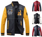 Hot Men's Baseball Leather Jacket Collar Slim PU coat Outerwear Casual overcoat
