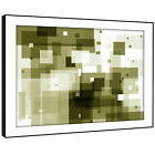 AB089 Green Squares Living Room Modern Abstract Framed Wall Art Picture Prints