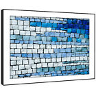 AB1483 Blue White Funky Modern Abstract Framed Wall Art Large Picture Prints