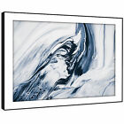 AB1723 Black White Blue Cool Modern Abstract Framed Wall Art Large Picture Print