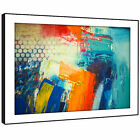 AB1753 Orange Blue Teal Cool Modern Abstract Framed Wall Art Large Picture Print