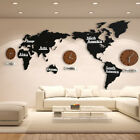 Living Room DIY 3D Wooden MDF Digital Wall Clock Large Size World Map Wall Clock