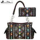 3 Colors Embroidered Tribal Native American Montana West Purse +Wallet Set