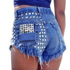 90's Women's Jeans Shorts Fashion Vintage Rivet Ripped High Waist Punk Sexy Hot