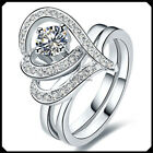 0.5CT Heart Diamond Solid Platinum PT950 Engagement Woman Double Ring White Gold