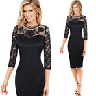 Women Floral Embroidery See Through Mesh Lace Cocktail Party Pencil Sheath Dress