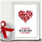 Personalised 30th Pearl Wedding Anniversary Gifts 30 Years As Mr & Mrs Mum & Dad