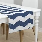 Table Runner Chevron Zigzag Angles Stripe Blue Lonely Angel Navy Cotton Sateen