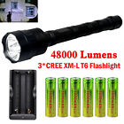 48000LM Police Tactical XMK 3x T6 LED 5 Modes 18650 Flashlight Torch Lamp UP