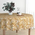 Round Tablecloth Bee Mustard Flowers Floral Vintage Botanical Cotton Sateen