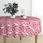 Round Tablecloth Feathers Birds Pink Ikat Aztec Girl Fashion Cotton Sateen