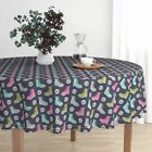 Round Tablecloth Fashion 90S Boots Shoes 80S Daisies Cotton Sateen