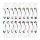 Curved Barbell Eyebrow Bar - 1.2mm (16g) - 6mm 8mm 10mm 12mm - Gem - 18 Colours