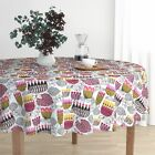 Round Tablecloth Mid Century Retro Flowers Stylized Flowers Bold Cotton Sateen