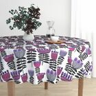 Round Tablecloth Tulips Mid Century Retro Floral Bold Floral Cotton Sateen