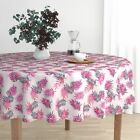Round Tablecloth Magenta Palm Leaves Tropical Retro Pink Leaf Cotton Sateen